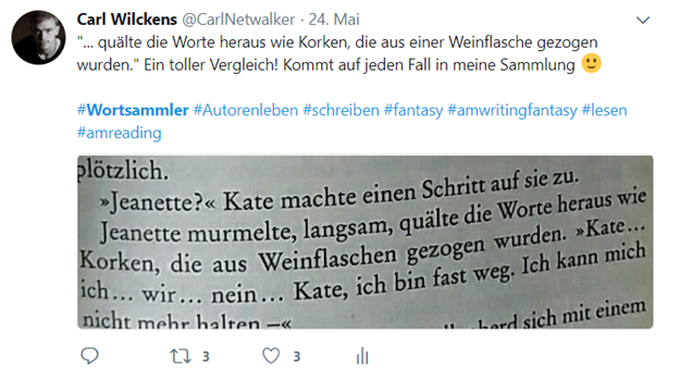 Wortsammlung, Twitter, Carl Wilckens, CarlNetwalker