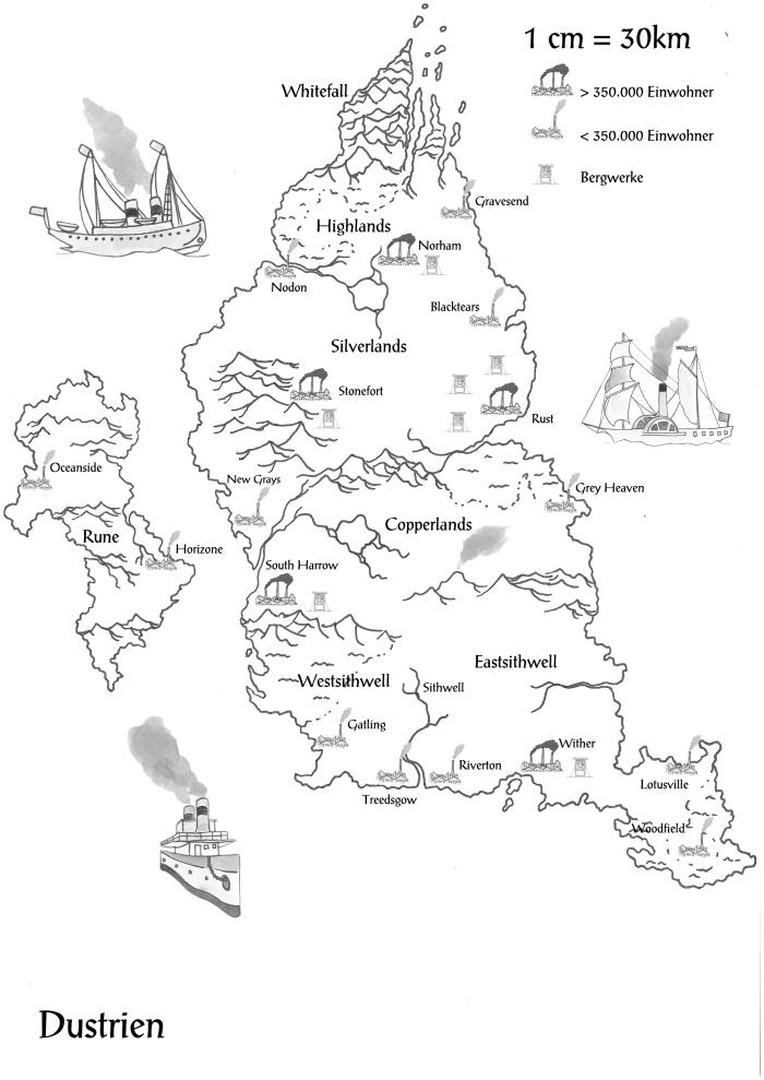 Landkarte, Fantasy, Dustrien, Rust, Dreizehn, Dark Fantasy